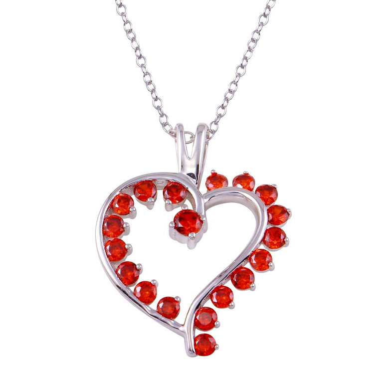 Aryoli 925 Sterling Silver Rhodium Plated Multi Red CZ Open Heart Necklace SPNBGP01318