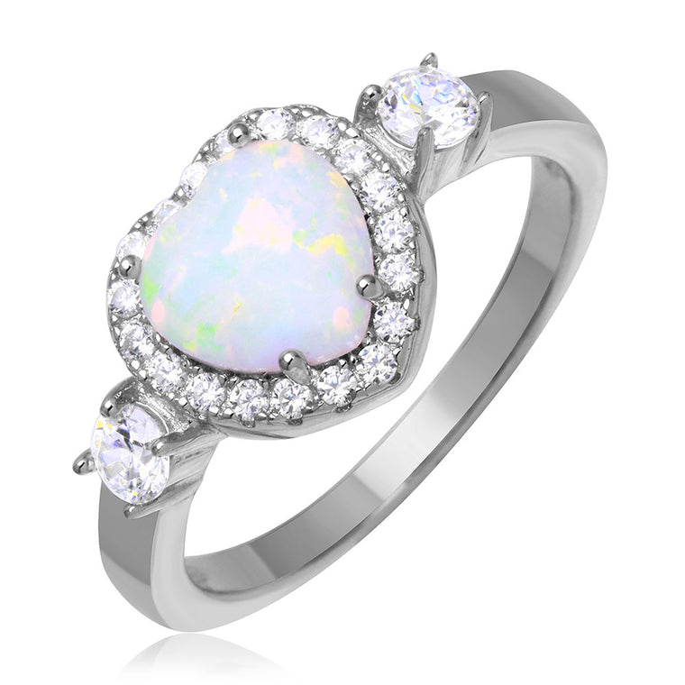 925 Sterling Silver Rhodium Plated Halo Heart Ring with Synthetic Opal and CZ SPNBGR01043