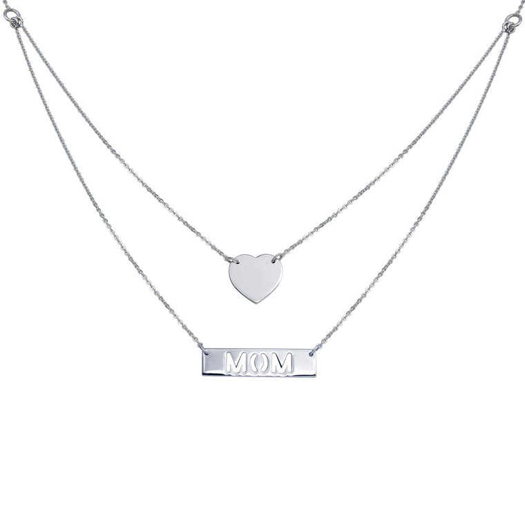 "Aryoli 925 Sterling Silver Rhodium Plated Double Chain Heart and ""Mom"" Pendant Necklace SPNDIN00053RH"