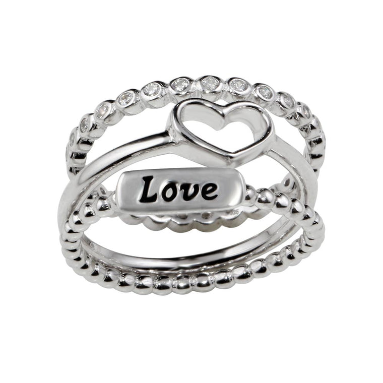 925 Sterling Silver Rhodium Plated Stackable Love Rings SPRSTR01060