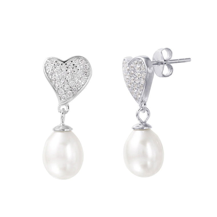 925 Sterling Silver Rhodium Plated Heart Synthetic Pearl Pave CZ Dangling Stud Earrings SPSTE01003