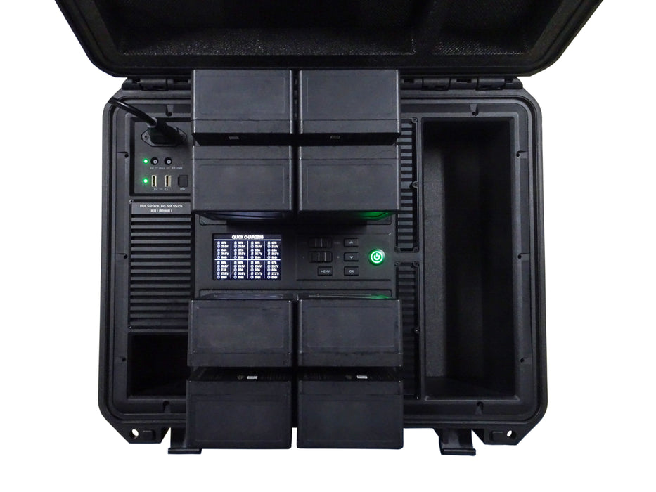 Battery charging station with eight TB55 batteries inserted