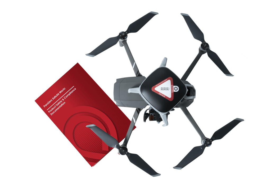 Overhead view of Mavic 2 Pro with ParaZero Parachute Mounted on top and ASTM Professional Kit