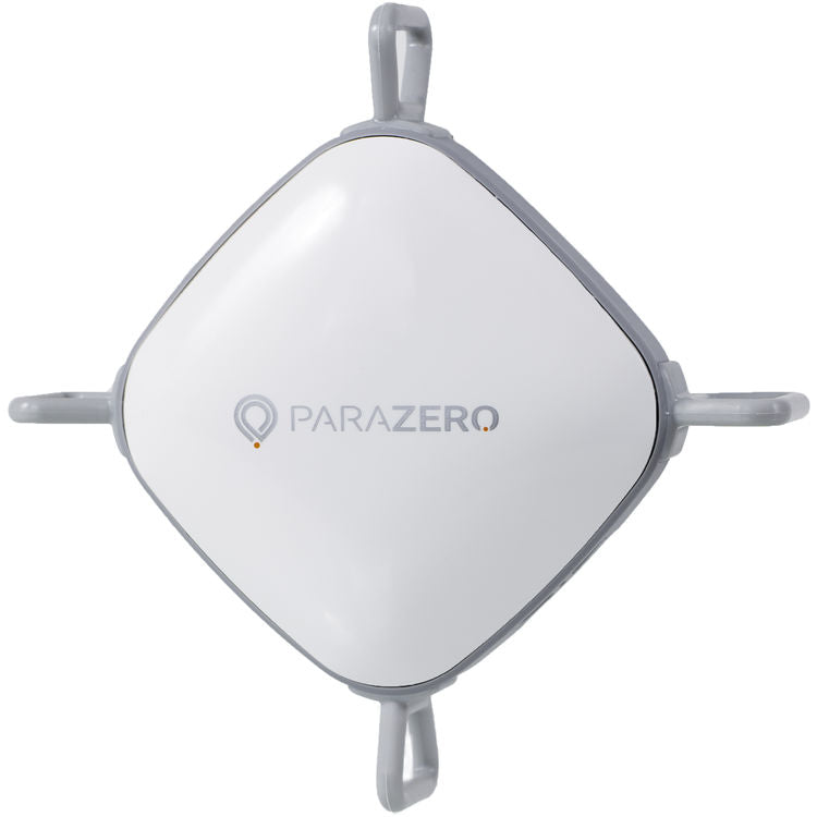 White ParaZero Phantom Parachute top view with four gray propeller stoppers