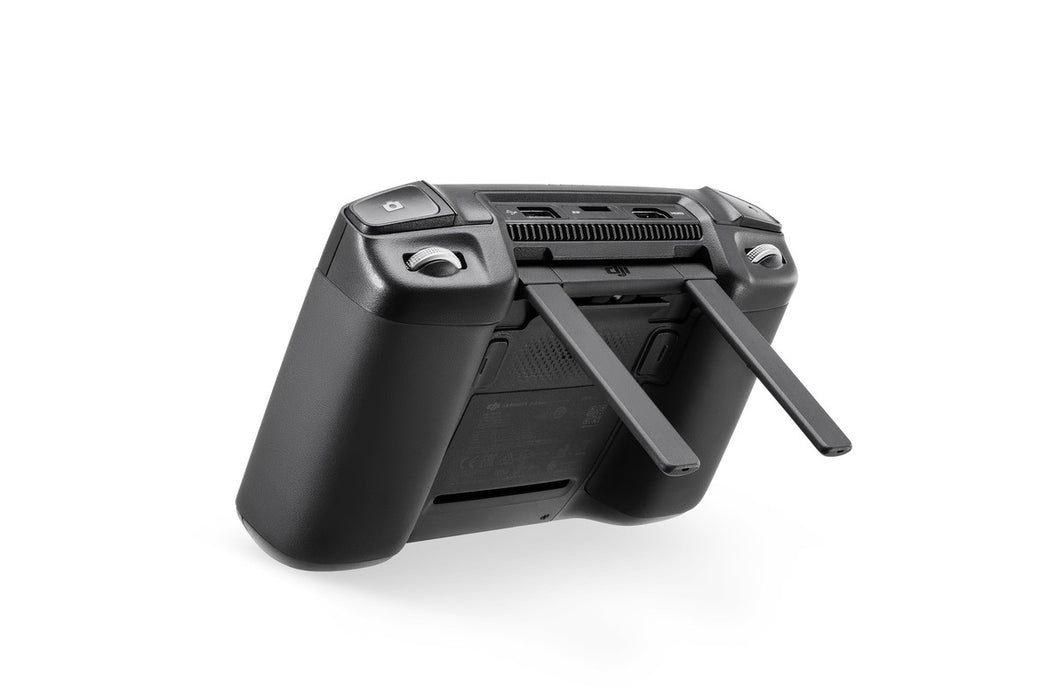 Black DJI Smart Controller rear view from the right angle with antenna at a right angle