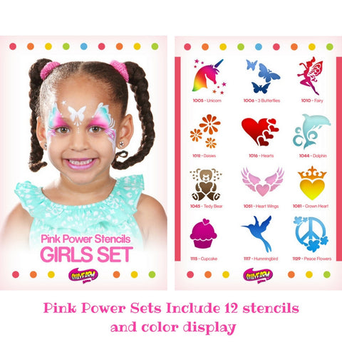 Girls Pink Power Stencil Set