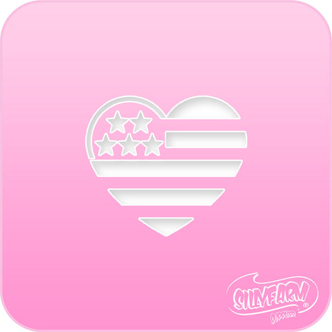 USA Heart Flag Pink Power Stencil