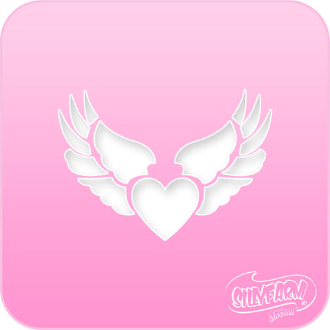Heart Wings Pink Power Stencil