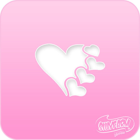 Hearts Pink Power Stencil