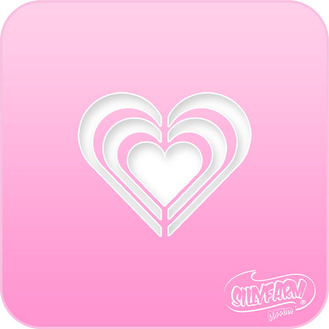 Triple Hearts Pink Power Stencil