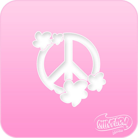 Peace Flowers Pink Power Stencil