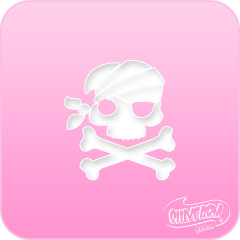 Pirate Skull & Bones Pink Power Stencil