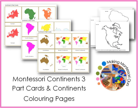 Montessori Continents 3 Part Cards & Continent Colouring Pages PDF