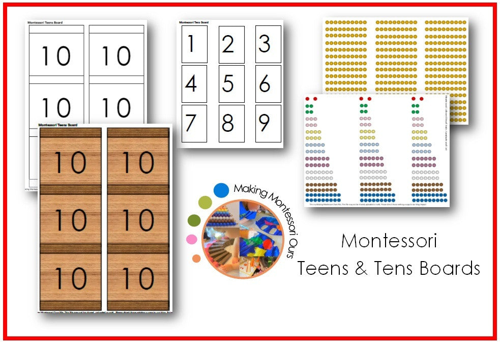Montessori Teens & Tens Boards Printable Package
