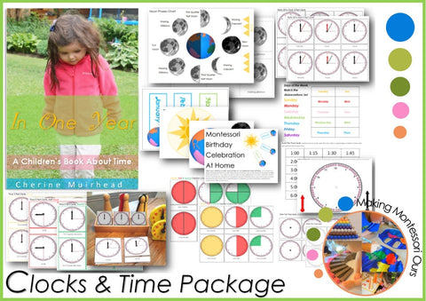 Montessori Clock & Time Work Printable Package, Clocks and time PDF learning materials