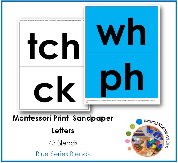 Montessori Blend Sandpaper Letter Tracing Cards