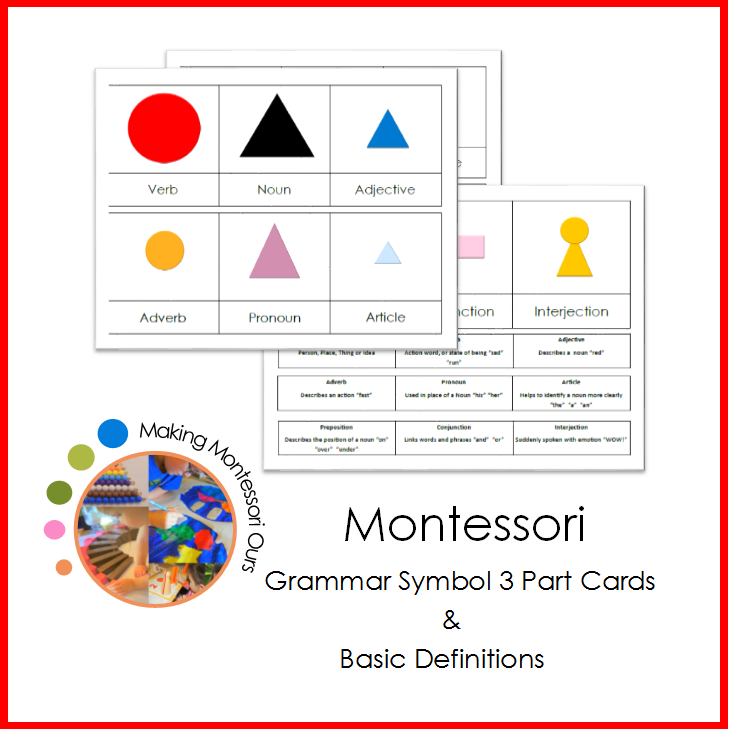 Montessori Grammar Symbol 3 Part Cards Making Montessori Ours