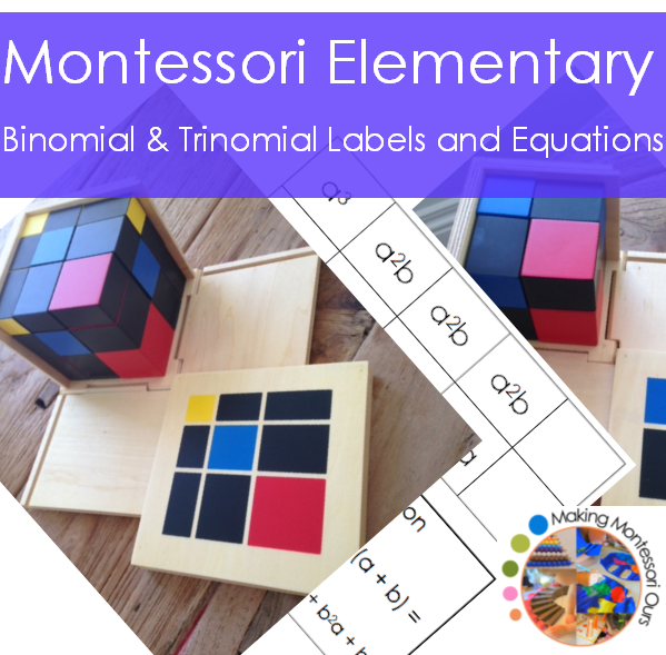 Montessori Binomial & Trinomial Cube Labels and Equations