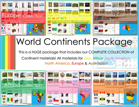 Montessori Complete Continent Study Package