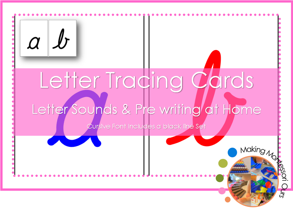 Montessori Cursive Sandpaper Letter Tracing Card Set
