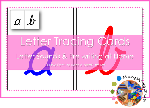 Montessori Cursive Sandpaper Letter Tracing Card Set PDF