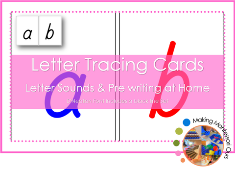 Montessori D'Nealian Letter Tracing Cards - Sandpaper letters