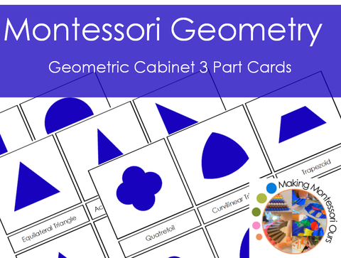 Montessori Geometric Cabinet 3 Part Cards