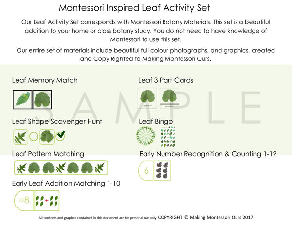 Montessori PDF Inspired Leaf Activity Set, Leaf Memory Match, Leaf 3 Part Cards, Leaf Pattern Matching, Leaf Bingo, Early Number Recognition & Counting 1-12, Early Leaf Addition Matching 1-10, Leaf Shape Scavenger Hunt
