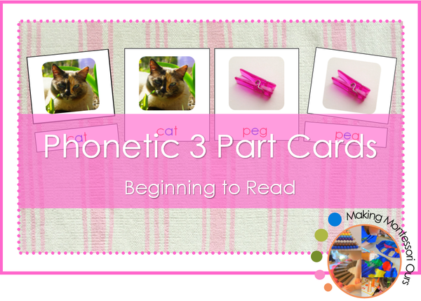 Montessori CVC Phonetic 3 Part Cards