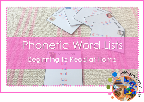 Montessori Phonetic CVC Word Lists