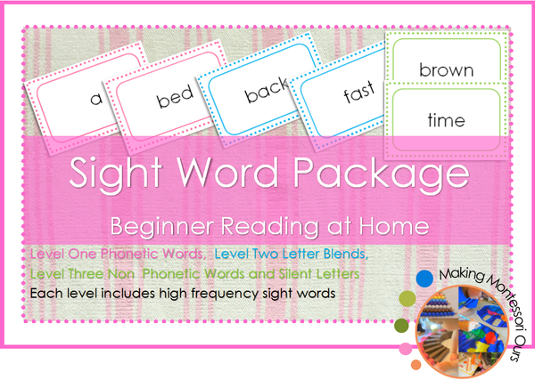 Montessori Sight Word Reading Package 3 Levels Included