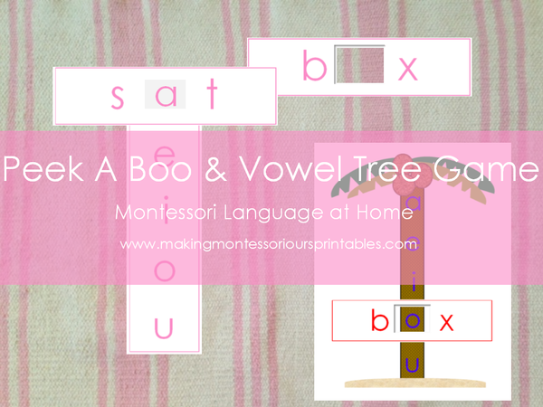 Montessori Inspired Peek A Boo Short Vowel & Vowel Tree Game