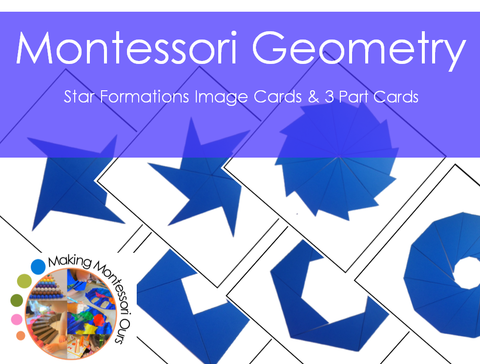 Montessori Geometry Star Formations Material Blue Rectangle Box
