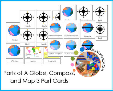 Parts Of A Globe, Compass & Map 3 Part Cards