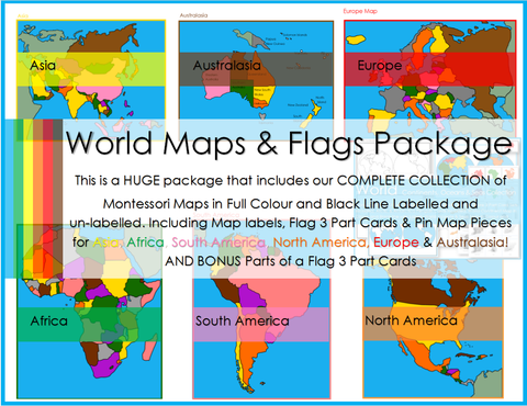 Montessori World Continent Maps, Flag 3 Part Cards & Pin Map Pieces Package
