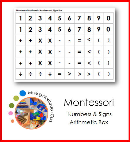 Montessori Arithmetic Signs and Numbers Box