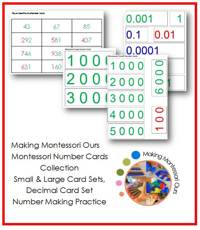 Montessori Number Cards Package