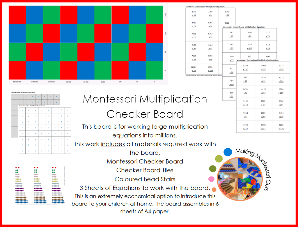 Montessori Multiplication Checker Board Material