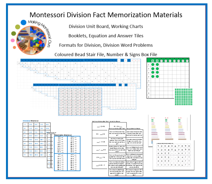 Montessori Division Fact Memorization Materials