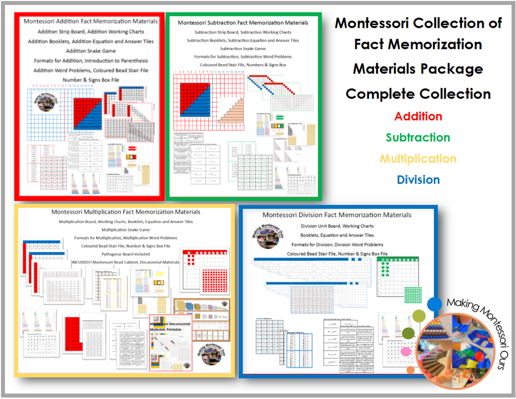 Montessori Fact Memorization PDF Materials Collection/Tables Work/Addition Tables/ Subtraction Tables/ Multiplication Tables/ Division Tables