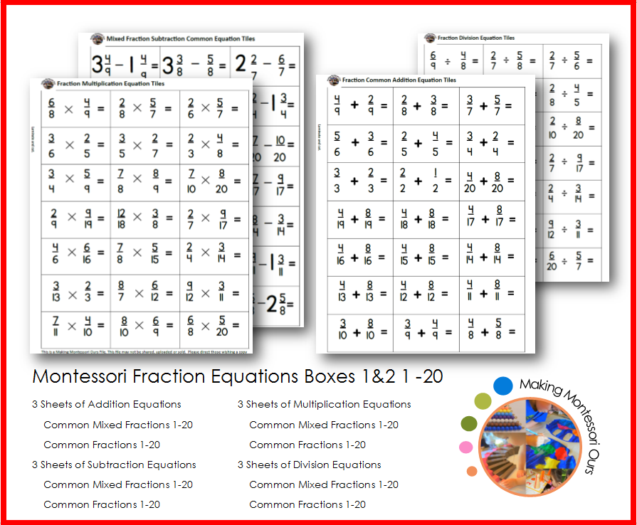 graphic regarding Fraction Cards Printable called Montessori Portion Equation Playing cards