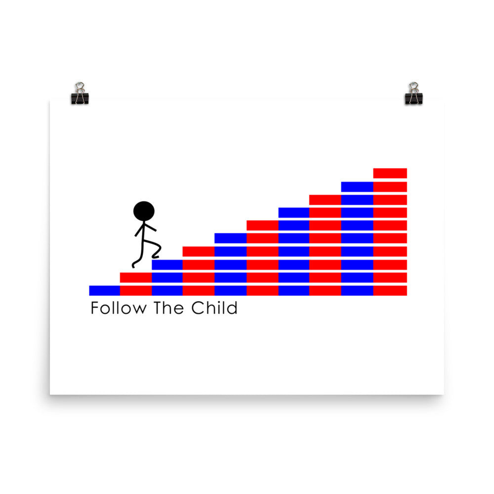 Follow The Child Numbered Rods Poster 18 x 24""
