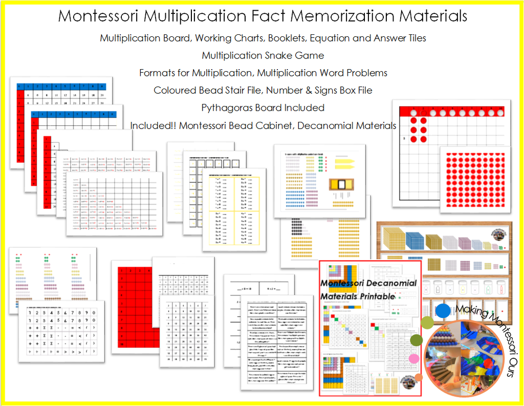 Montessori Multiplication Fact Memorization Materials Package