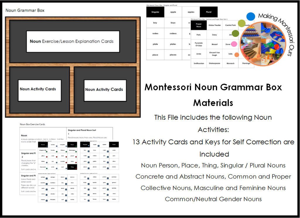 Montessori Noun Grammar Box Materials