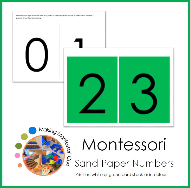Montessori Sandpaper Number Cards