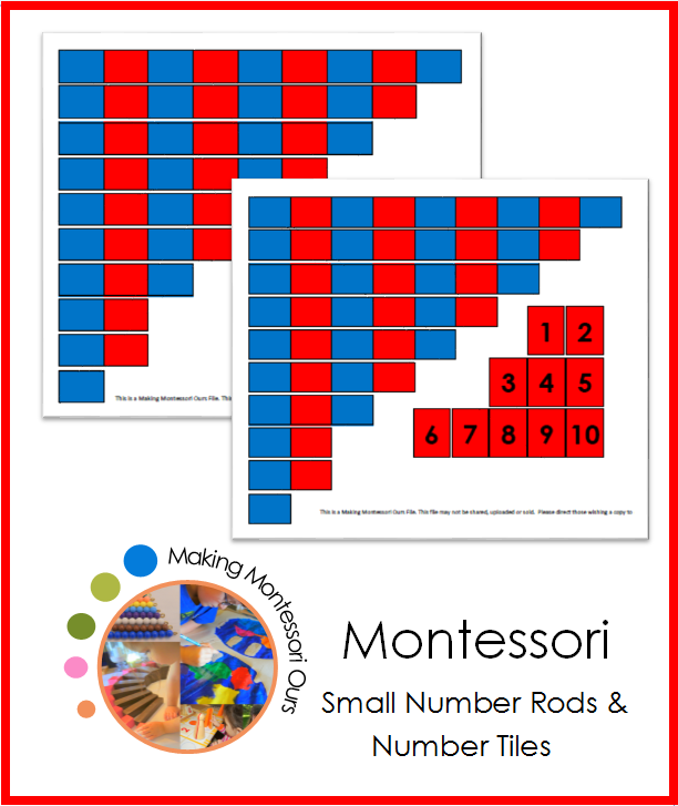 Montessori Small Number Rod Set & Number Tiles
