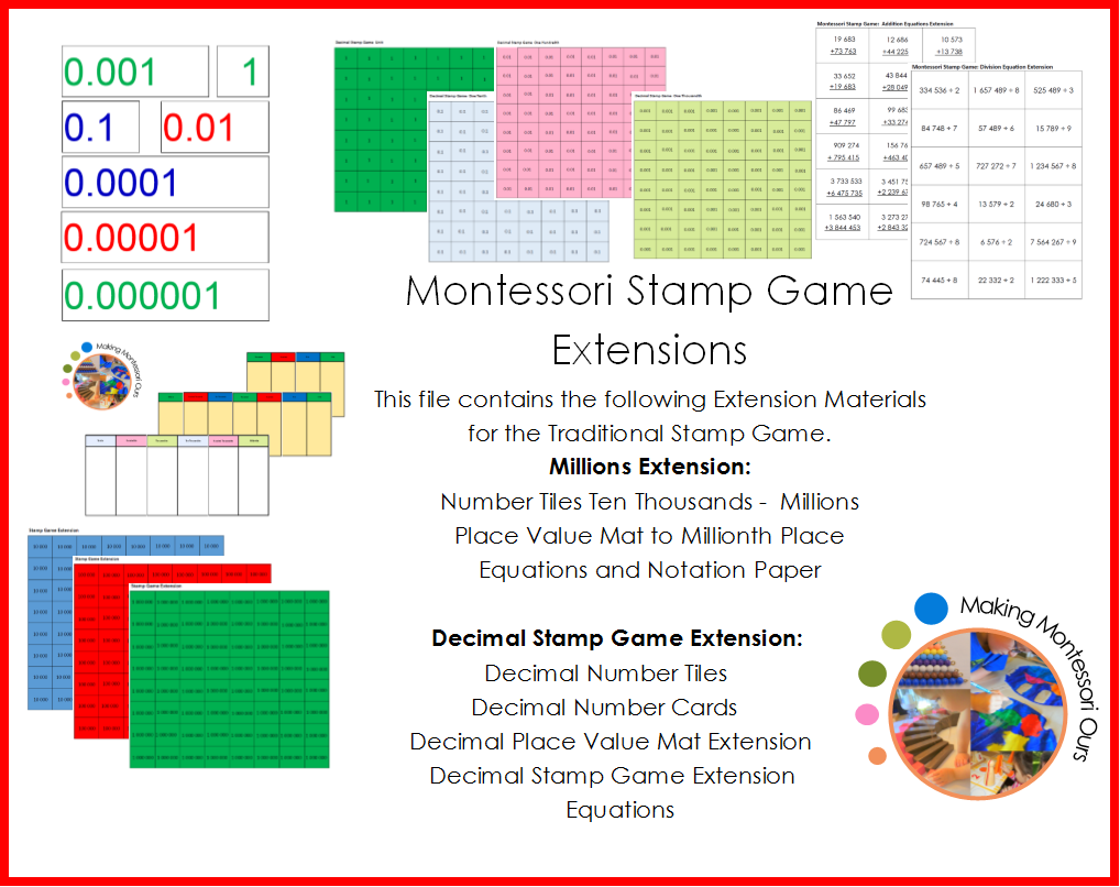 Montessori Stamp Extensions Million and Decimal