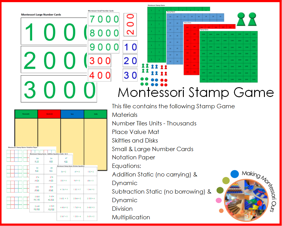picture relating to Making 10 Games Printable identified as Montessori Stamp Match Elements