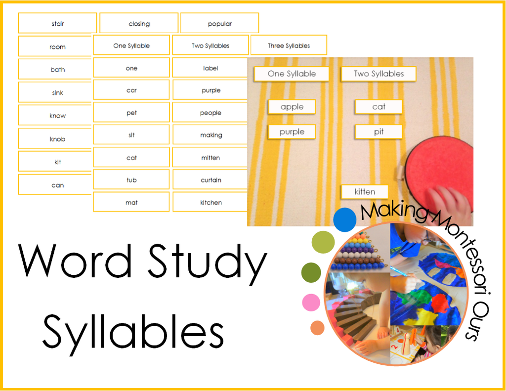 Montessori Word Study, Syllables