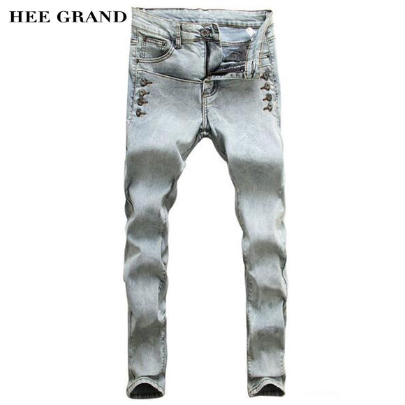 2017 HEE GRAND Fashion Leisure Slim Decorative Button Pencil Men's Pants